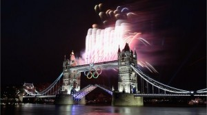Pyro on Tower Bridge with Olympic Rings